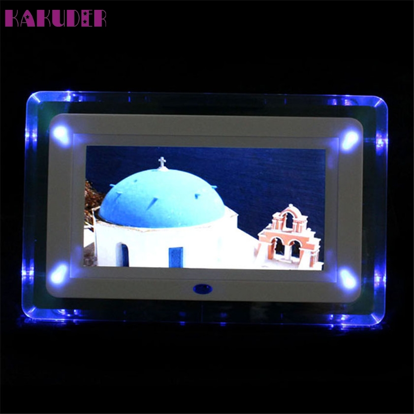 High Quality  New 7 Remote Control TFT-LCD Digital Photo Movies Frame MP3 Player Alarm Clock LED Light Flashing professional 10 tft lcd digital photo movies frame mp4 player alarm clock remote