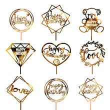 1PC Glitter Happy Birthday Cake Topper Acrylic Love Gold Silver Cake Flag for baby shower Birthday Party Wedding Supplies