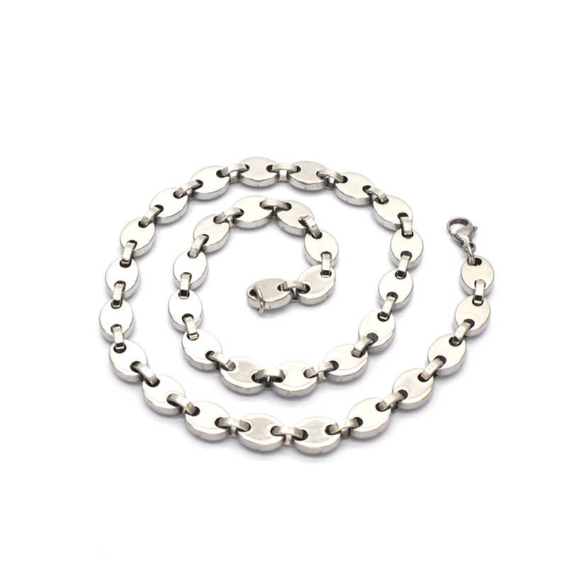 Best sell Fashion Jewelry Stainless Steel Necklace 10mm Flat coffee bean Link Chain Silver Men Women Gift N05161