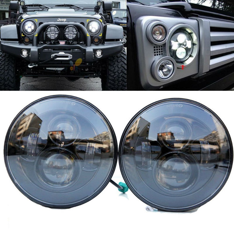 "For Lada 4x4 Urban Niva Suzuki Samurai 7"" Black/Chrome H4 LED Headlight Round Headlamp for Jeep Wrangler Land Rover Defender"