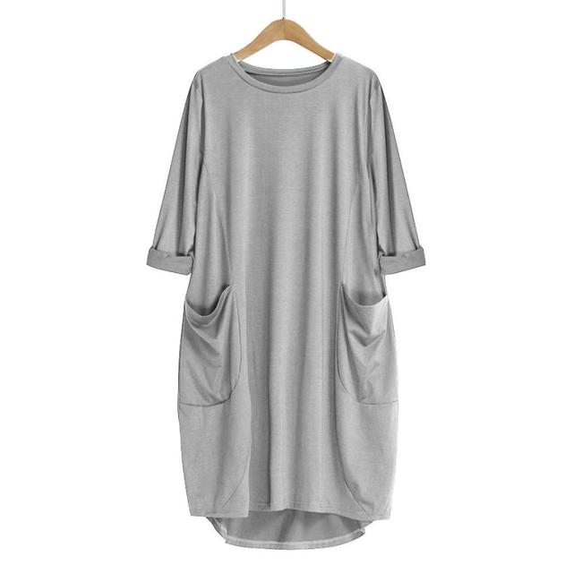 Women's Fashion Dress Womens Pocket Loose Dress Ladies Crew Neck Casual Long Tops Dresses Plus Size   augu10