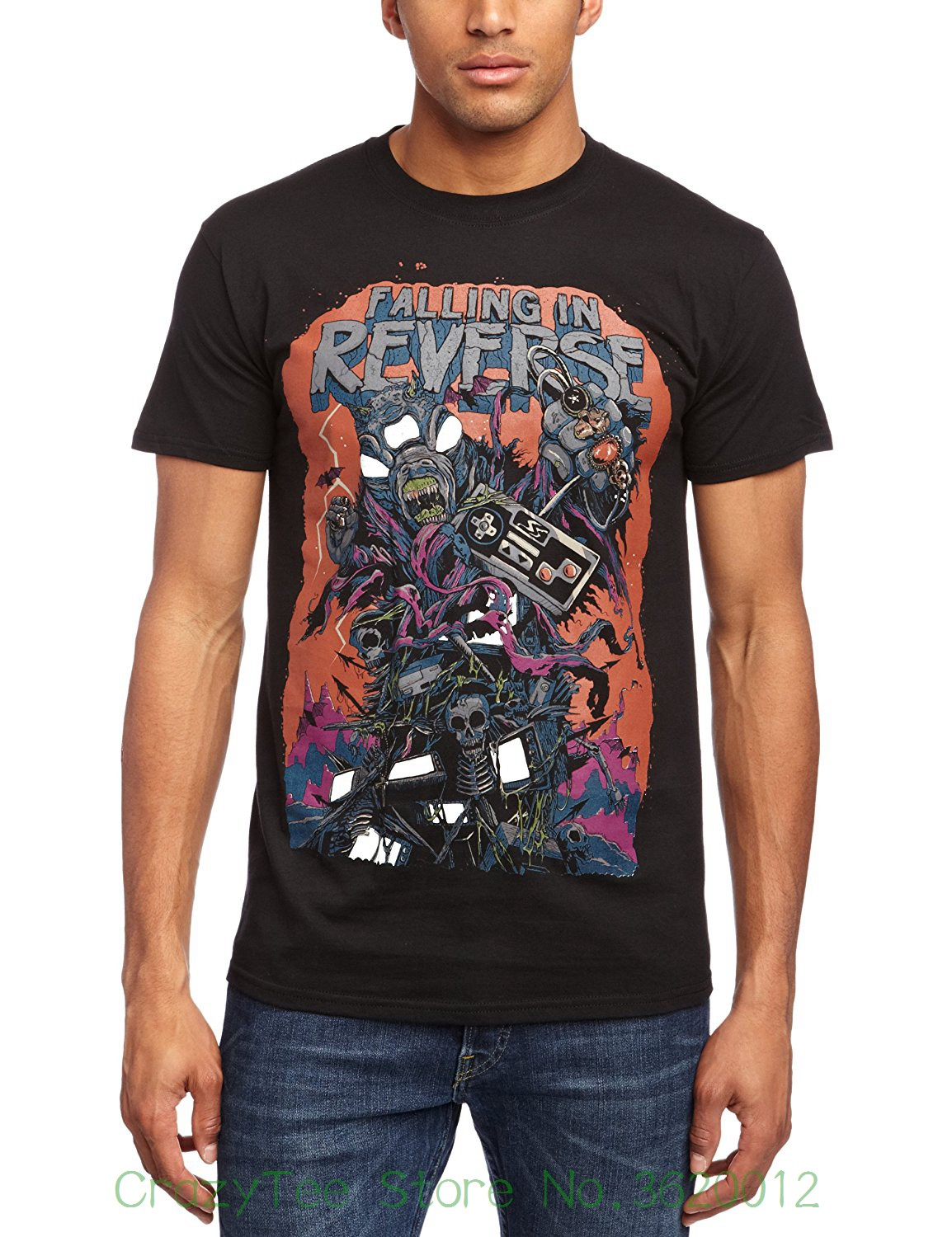 Funny Casual Brand Shirts Top Mens Falling In Reverse Video Game T-shirt Small Black