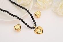 Романтический сердечный кулон ожерелье цепочка серьги наборы