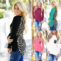 Camiseta de las mujeres de Señora Chiffon Shirt Nueva O Cuello de Bolsillo de Manga Larga Blusa de Alta Calidad Sexy Leopard Print Tops Otoño 5XL del Tamaño Extra Grande