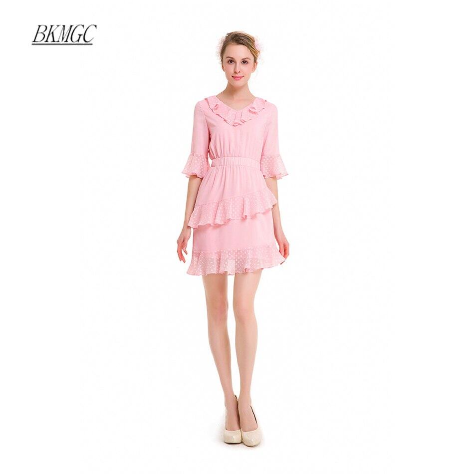 Preppy Style Solid Chiffon Draped Half Flare Sleeve Gils Cute Dress 2017 Summer Loose Lace V-Neck Mini Dress Free Shipping