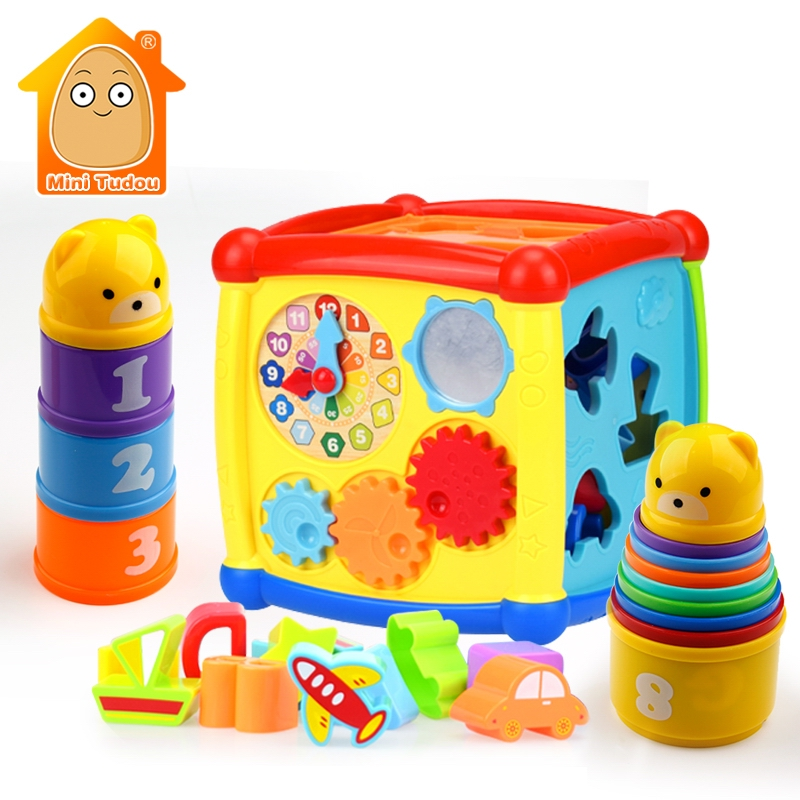 Baby Toys Multifunctional Learning Cube With Clock Sort Geometric Blocks Stacking Cups Early Educational Toy For Kids