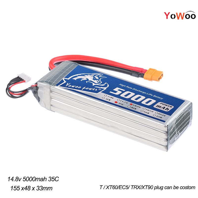 YOWOO Lipo 4s 14.8V 5000mAh Battery 35C-70C battery For Rc Drone AKKU Helicopter Car Truck Airplane Boat FPV Slash 4X4 Ultimate 2pcs yowoo lipo 4s 14 8v 5000mah battery 35c max 70c for rc bateria drone akku helicopter quadcopter car airplane boat uav fpv