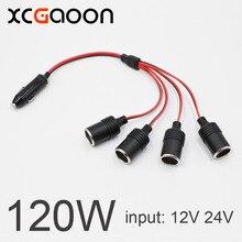 XCGaoon 120W 4 Ways Triple Car Cigarette Lighter Splitter Female Socket Plug Power Adapter Connector input