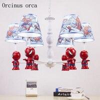 Cartoon creation Spiderman chandelier boys bedroom children room light modern simple LED chandelier remote control