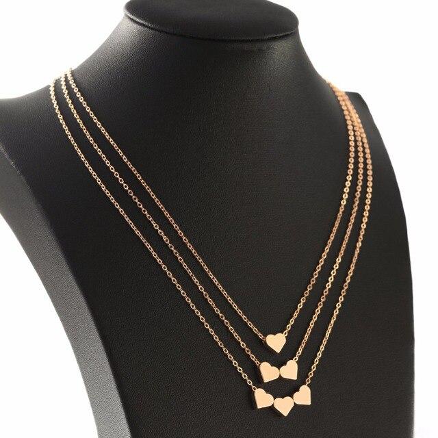 999ed8e13eb5 Ggold Color moda joyería amor corazón ajustable Collar para las mujeres  cadena multicapa collar regalo del