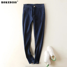 ROKEDISS brand women jeans retro style bell bottom skinny jeans female deep blue solid wide leg denim pants young lady X119
