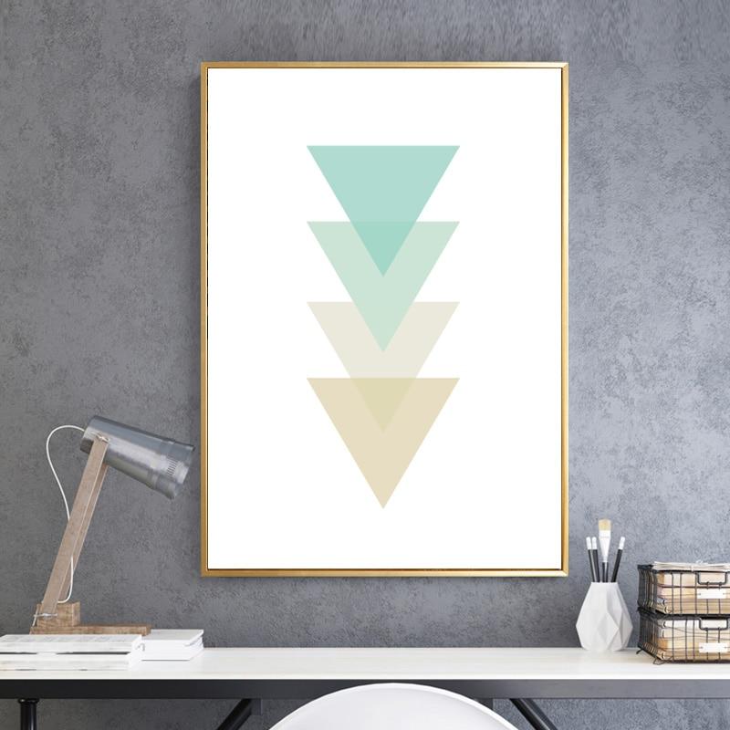 SICHER LEBEN Abstrakte Geometrische Dreiecke Poster Leinwand Gemälde ...