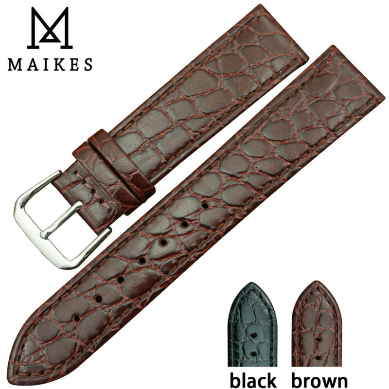 MAIKES Watch accessory Genuine leather watch band High quality brown quartz watch strap 13mm 18mm 20mm for Longines watch business card holder women vogue thumb slide out stainless steel pocket id credit card holder case men