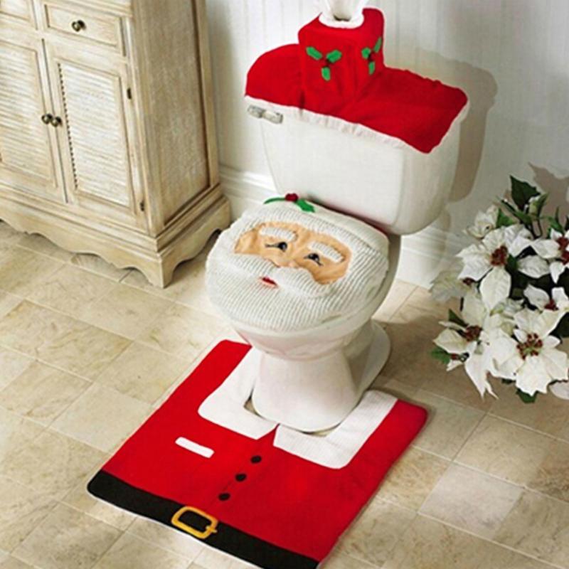 Рождественские украшения для дом, ванная, туалет, чехол для сиденья, бумажный коврик, рождественские украшения Санта-Клауса, новогодний дек...