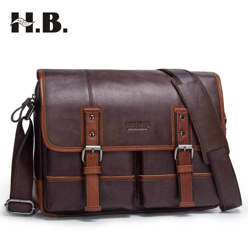 HIBO Genuine Leather Man Fashion Briefcase High Quality Business Shoulder Bags Casual Travel Handbag Luxury Brand Laptop Bag genuine leather man fashion briefcase high quality crazy horse leather business shoulder bag casual travel handbag men bag ls013