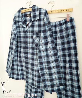 Estación de la edad de 100% algodón clásico cuadrícula de color azul oscuro de moda más tamaño clásico traje de pijama ropa deportiva y cómodo