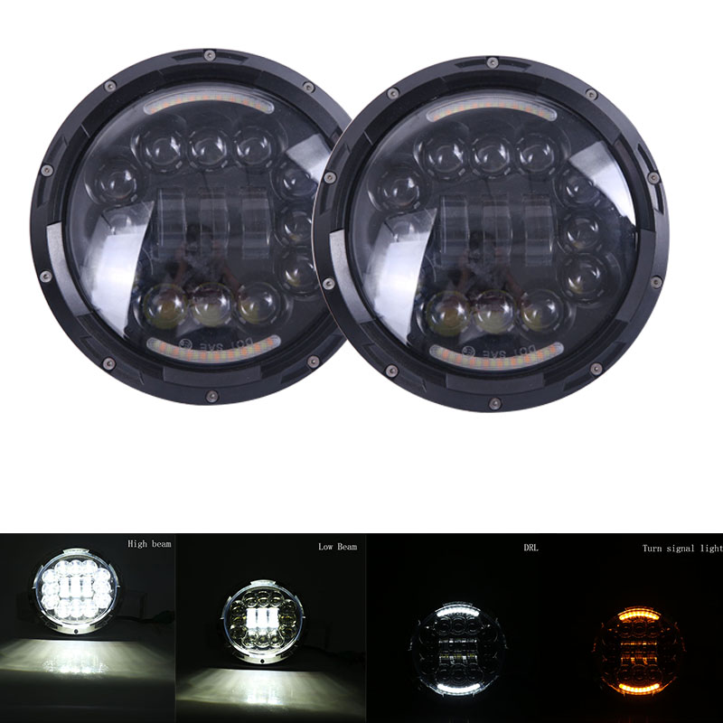 Black/Silver Daymaker Round 7inch led headlight for Jeep Wrangler Yamaha Harley Ultra Classic Electra Glide front light headlamp windshield pillar mount grab handles for jeep wrangler jk and jku unlimited solid mount grab textured steel bar front fits jeep
