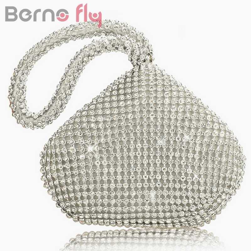 46619ab2dedb Berno fly Rhinestones Women Clutch Bags Diamonds Finger Ring Ladies Vintage  Evening Bag Crystal Wedding Bridal