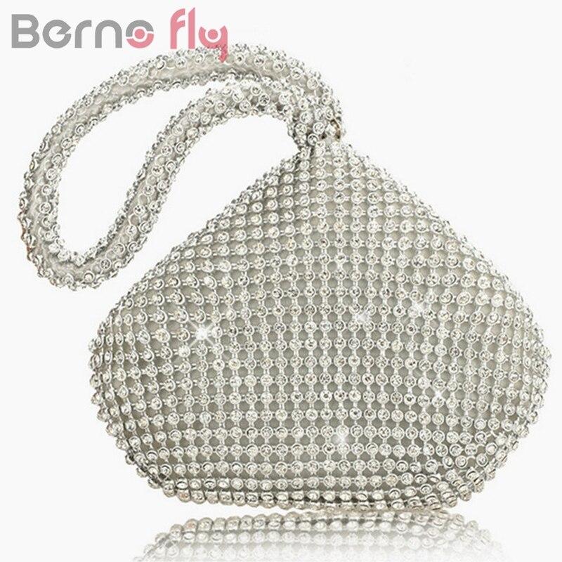 Berno vuelan Los Rhinestones Mujeres Bolsos de Embrague Noche Bolsa de Diamantes