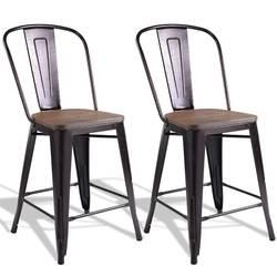 Медный набор из 2 металлических деревянных стулья для стойки прочная стальная рама сверхмощные Стальные Стулья деревянное сиденье