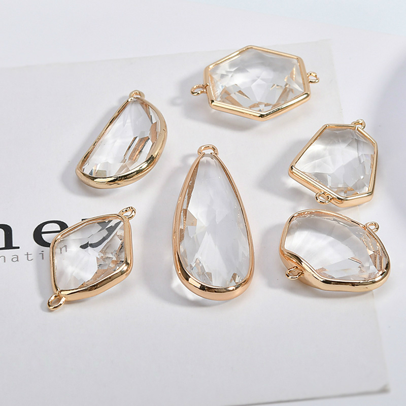 DIY transparent water drops rectangular irregular shaped crystal earrings necklace pendant material 1 pack of 4 pieces yldz001 fashionable moon shaped rhinestone inlaid pendant necklace golden transparent