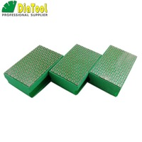 DIATOOL 3pcs G#50 Electroplated Diamond Hand Polishing Pad 90X55MM Foam backed Hand Sanding Block For Marble Granite Tile Stone