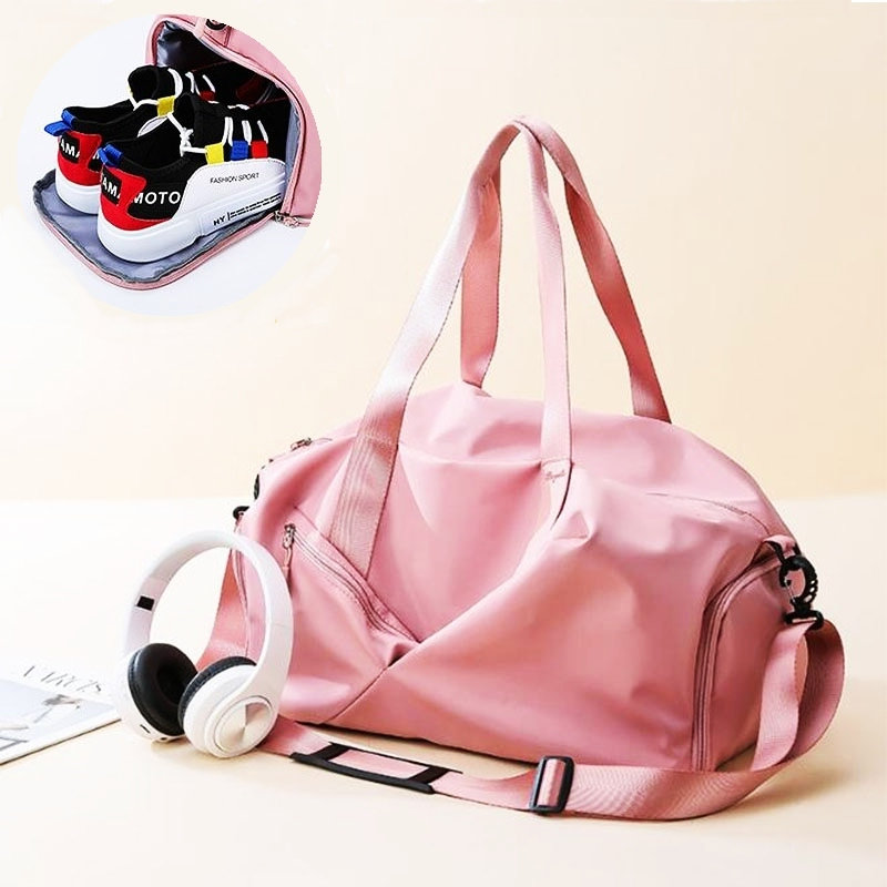 Gym Yoga Bags For Women Sac De Sport Travel Bags With Dry Pocket Pink Girl Training Handbag Lightweight Nylon Swimming Pool Bags