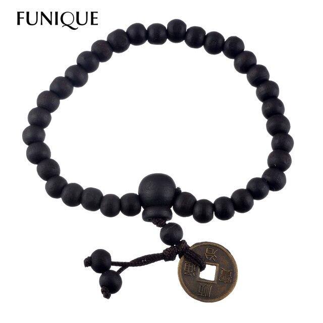 b5441fc287eb Moda madera Buda Cuentas pulseras para hombres monedas antiguas chinas  encanto macrame Strand Cuentas pulseras regalo
