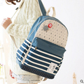 New Bookbags Womens Girls Backpacks Striped Travel Bags Mochila Student School Bag Girl Canvas Backpack Rucksack