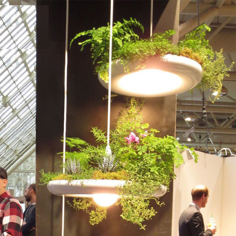 Modern Nordic Pendant Lamp Aluminum White Plant Hanging Garden Light Bar Restaurant Kitchen Cafe Creative E27 Lighting Fixture modern hanging garden of plants lamp nordic creative chandelier lighting without plants and flowers nature home decoration