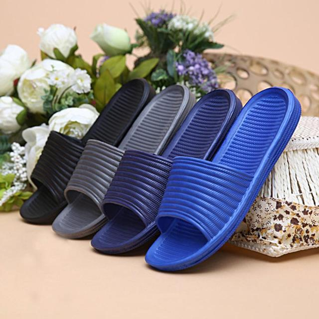 Man Stripe Flat Bath Slippers Summer Sandals Indoor & Outdoor Slippers 3