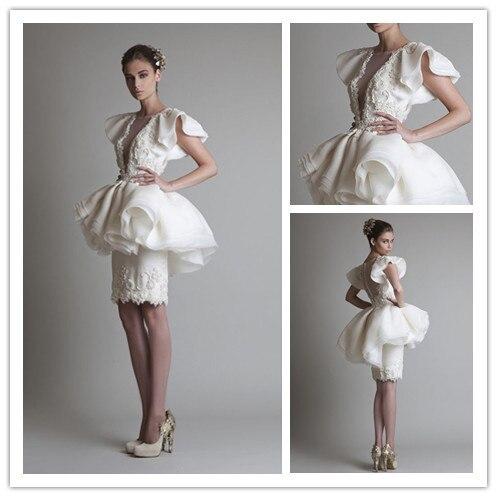 667ade4c136 Новинка отлично кружева пышная юбка короткое свадебное платье свадебное  платье знаменитости