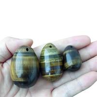 3Pcs Drilled Natural Tiger Eye Yoni Egg Kegel Exercise Jade Egg Tightening Vaginal Muscle Trainer Stimulator Body Care Stone