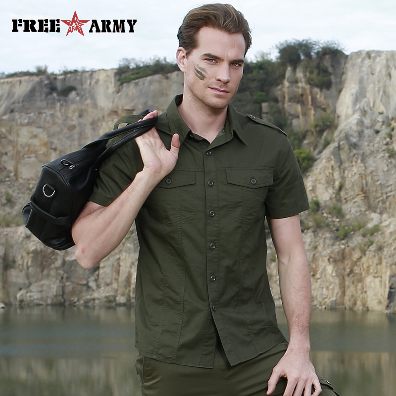 Mens Casual Pocket Button-Down Lapel T-Shirt Slim Military Solid Color Short Sleeve Top Blouse