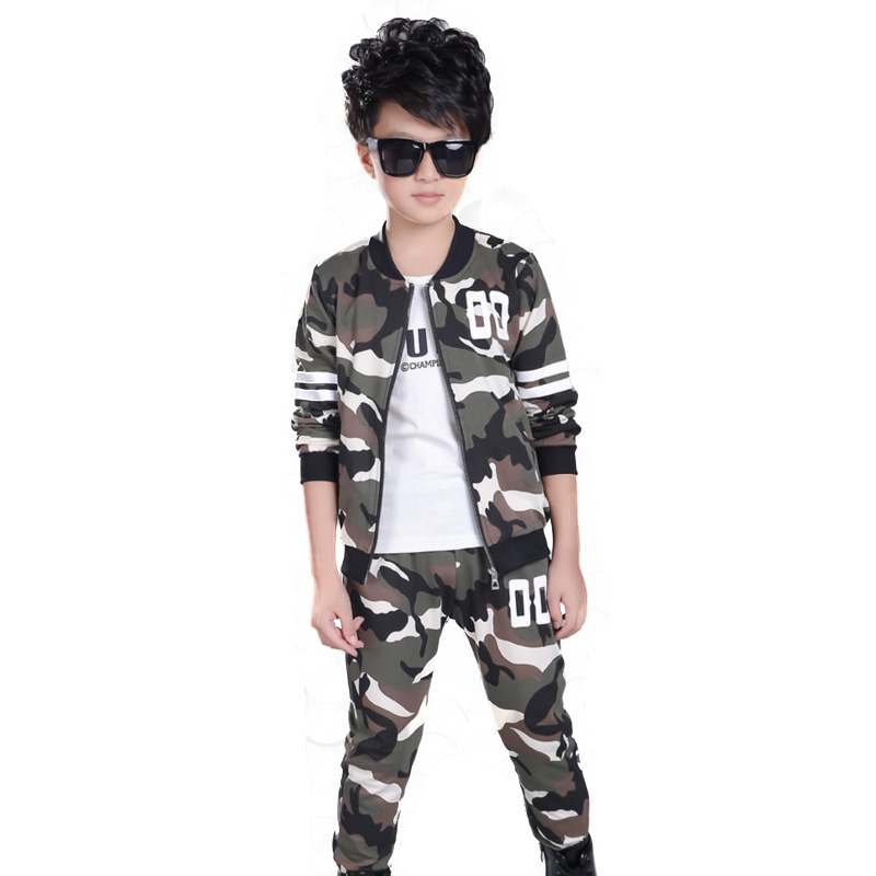 5-12T Children boy Clothes Sets Suits Designer Kids for Teenagers Cotton Camouflage Boys Sport Suit Mandarin Collar Coat+Pants boys cotton clothes sets for children summer outfit kids camouflage t shirts