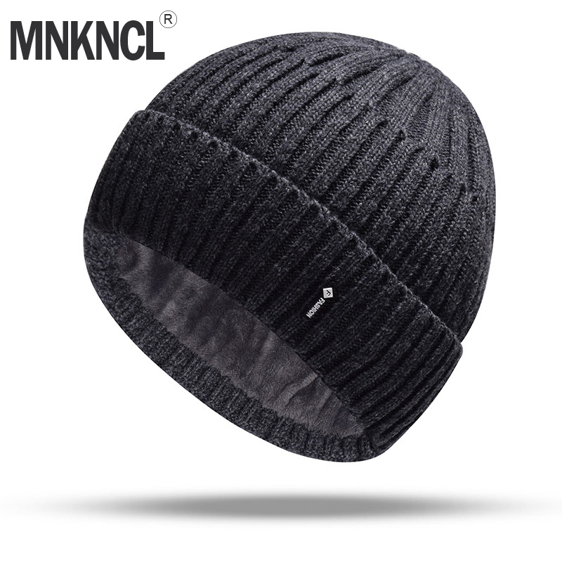 MNKNCL Double Layer Wool Knitted Hat Warmer Winter Hat For Men Women   Skullies     Beanies   Warm Fleece Caps