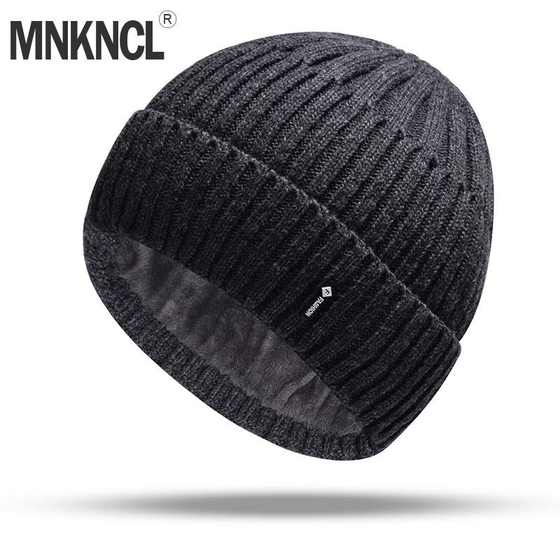 MNKNCL Double Layer Wool Knitted Hat Warmer Winter Hat For Men Women   Skullies     Beanies   Warm Fleece Caps