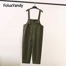 Casual Overalls Women Pants Suspenders Trousers Loose Plus Size Black Army Green SWM1307
