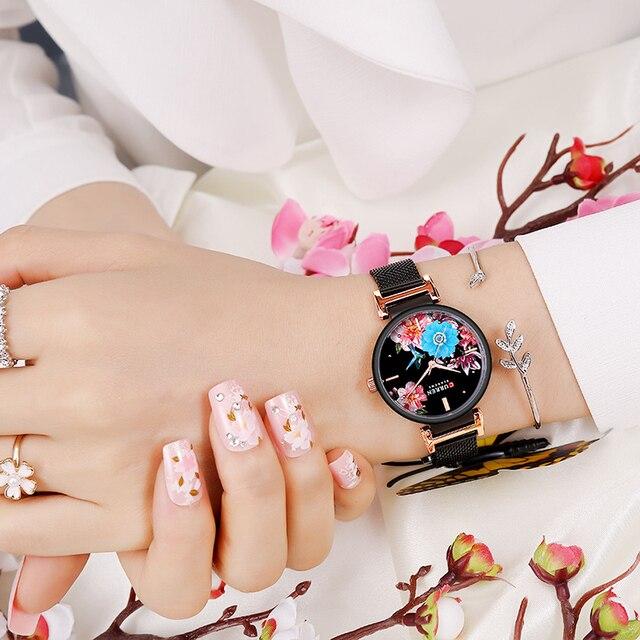 CURREN Yeni Lüks kadın saati Yaratıcı Arama Su Geçirmez Kuvars Kol Saati Klasik Örgü Kayış Moda Kadınlar Saat Relogio Feminino