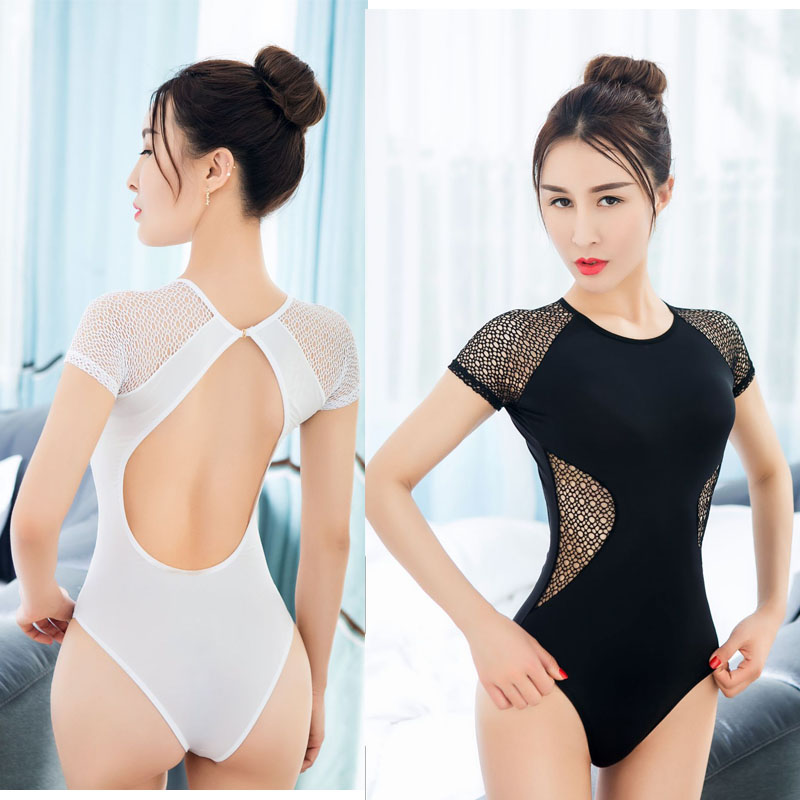 Adult Patchwork Thin Perspective Hollow Out Backlessless Cute Sukumizu Women Oneck One Piece Swimwear Bathingsuit Erotic Wear