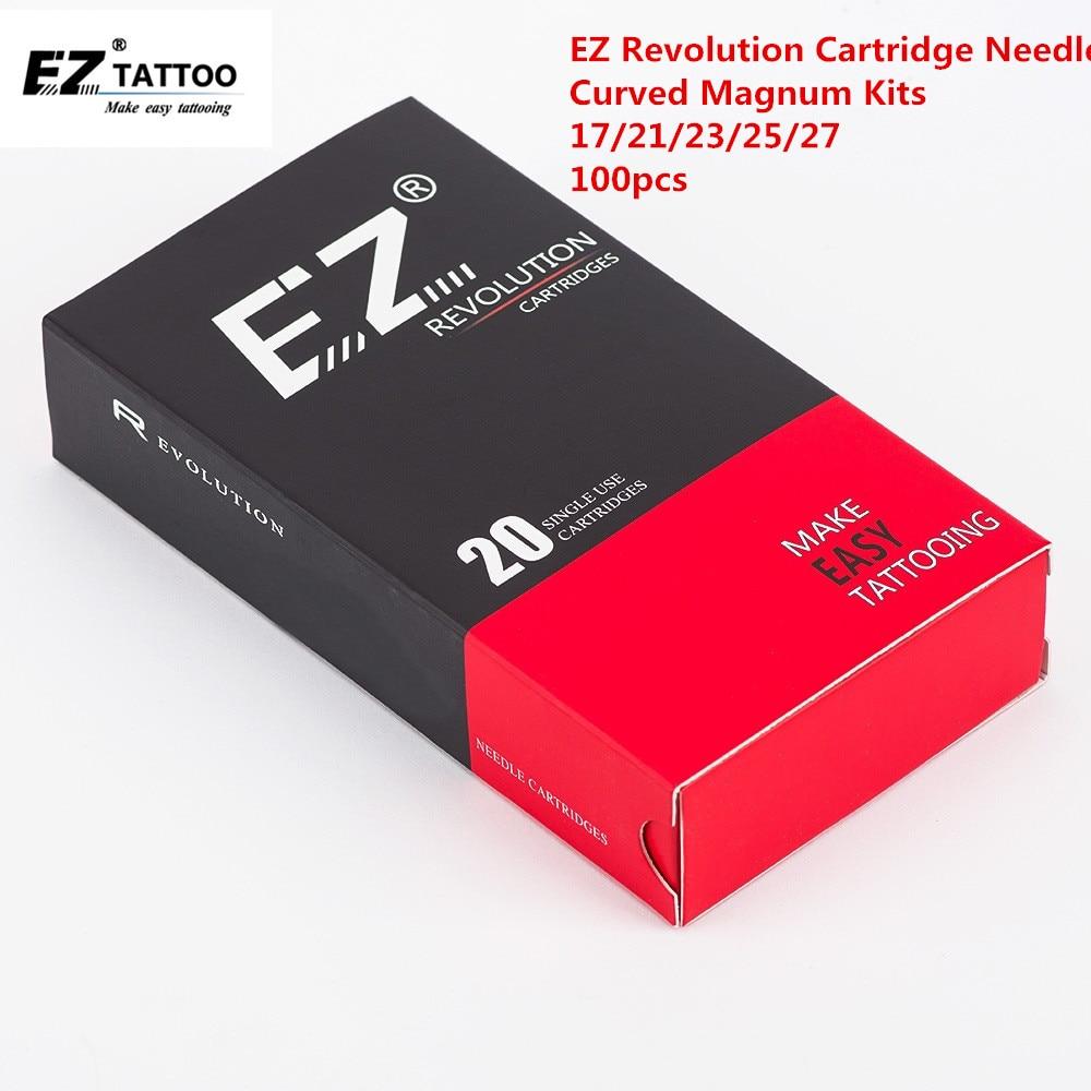 100 PCS EZ Revolution Cartridge Tattoo Needle Kits Curved Magnum 17 21 23 25 27 Mix