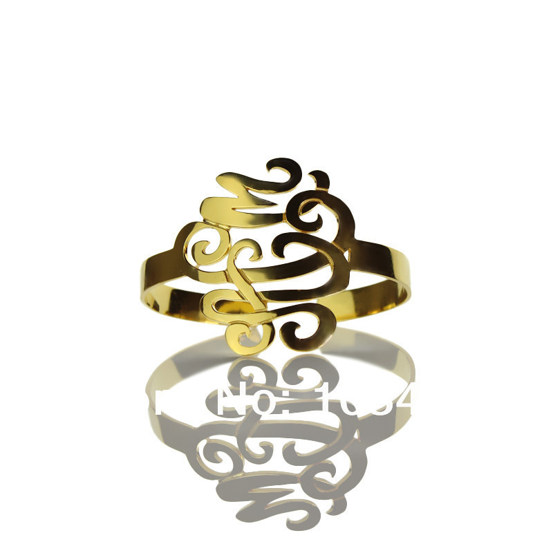AILIN Personal Monogram Bracelets Cutomized Cut 3 Hand painted Stereoscopic Monogrammed Initial 1.6 Inch Nameplate Bracelet