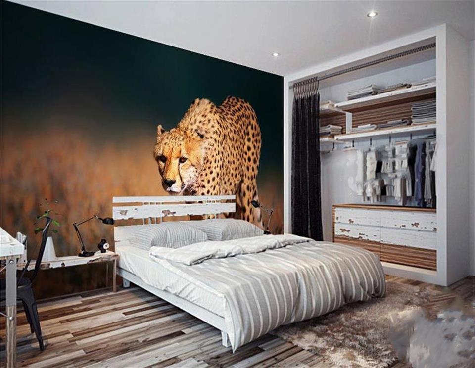 3d wallpaper custom photo wallpaper mural wild animal cheetah 3d painting bedding room sofa TV background wall non-woven sticker