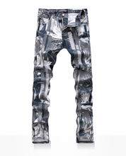 Hot sale  New arrival men plaid painted jeand novelty slim denim trousers