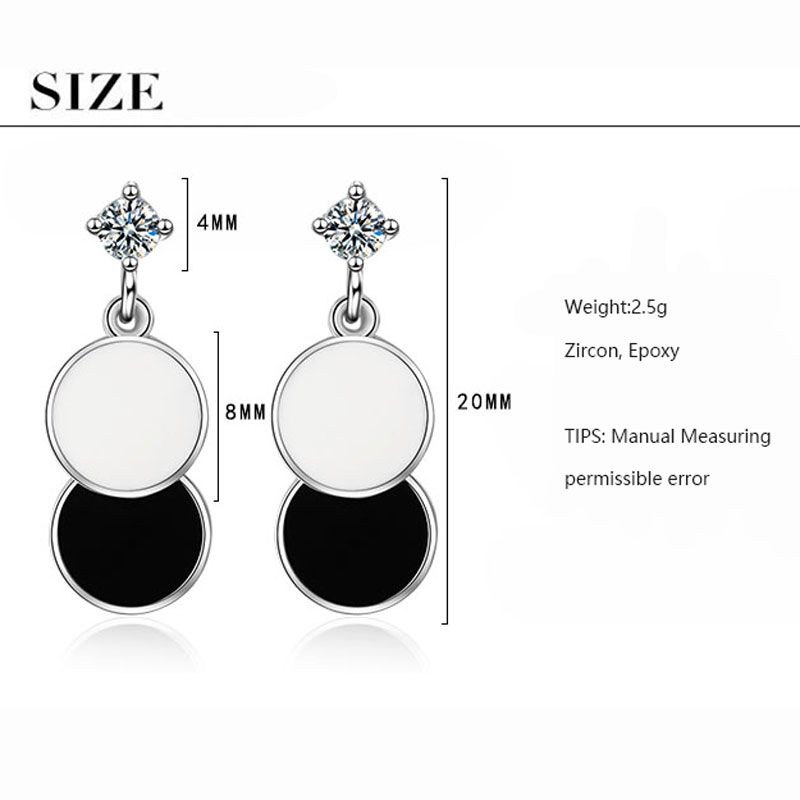ANENJERY Simple Black and White Round Geometric 925 Sterling Silver Earring For Women Gift S-E844 4