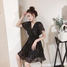 76bb8d63b4bf08 Zoete zomer stijl vrouwen Kleding v-hals ster zwarte jurken Vrouwelijke  temperament chiffon mini jurk vetement femme mode nieuwe