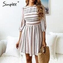 Simplee Striped half sleeve women dress Elegant O neck A-line cotton short vestidos feminino Casual holiday beach dresses 2019