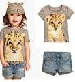 Летние девушки с короткими рукавами рубашка + джинсы шорты/комплект одежды для девочек одежда детская одежда набор