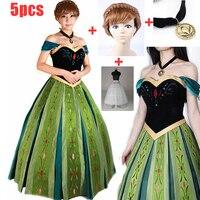 5PCS Adult Girls Lady Elsa&Anna Princess Fashion Dress Anna Coronation Dress Cosplay Halloween Party Costumes for women XS 3XL