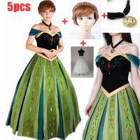 5PCS Adult Girls Lady Elsa&Anna Princess Fashion Dress Anna Coronation Dress Cosplay Halloween Party Costumes for women XS 3XL